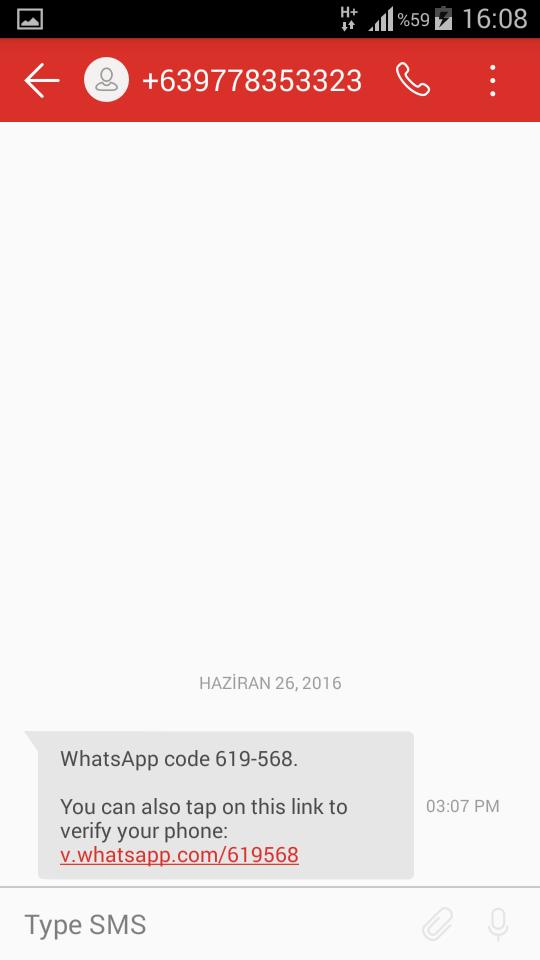 whatsapp sms dogrulama